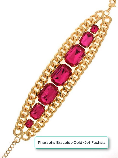 PHAROAHS LARGE ROYAL BRACELET - GOLD/JET FUSHIA