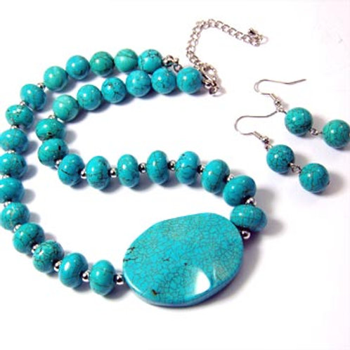 WAVY TURQUOISE OVAL NECKLACE SET