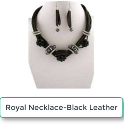 THE  ROYAL NECKLACE-BLACK LEATHER