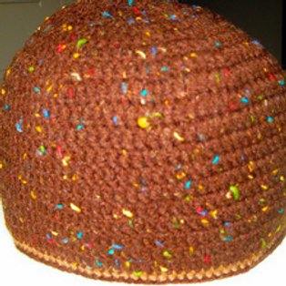 DELORES CHAMBLIN DESIGNER KUFI - BROWN SPECKLED KUFI