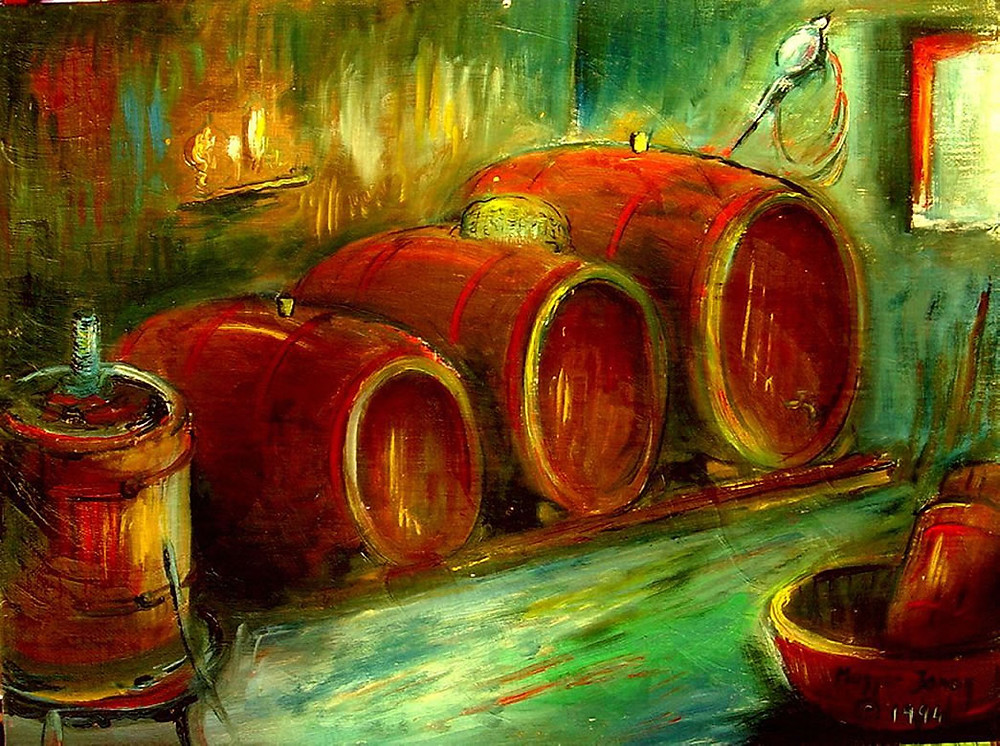 O vinho, a arte e a filosofia sempre andam muito próximos (Foto: reprodução do quadro, Wine Cellar, de John the Elder Magyari)
