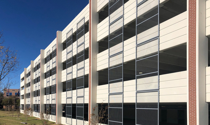 Inboard spandrels, which allows for strong vertical columns on the exterior with cast in thin brick. Contractor/Owner:  Grupo Haddad Architect:  2CMD Inc. Location:  1301 East Lookout Drive, Richardson, TX