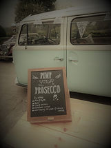Pastel vintage vw camper prosecco bar for weddings and events