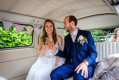 Just married! vw camper champagne wedding bubbly bride groom Manchester Sheffield Leeds Chasing Rainbows Vintage Campers wedding and event hire