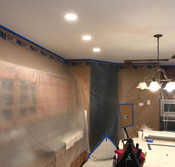 Kitchen remodel with island lighting