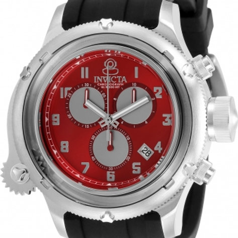"""Invicta""Russian Diver NAUTILUS Red Caged Dial Swiss Movt Chrono"