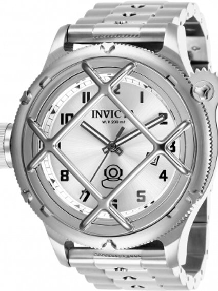 """Invicta""Russian Diver NAUTILUS Lefty Caged Dial SILVER SS"