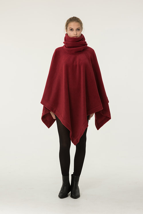PONCHO FLEECE  RED