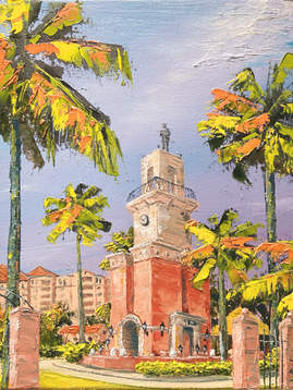 Mizner Pavilion Original Oil Painting -
