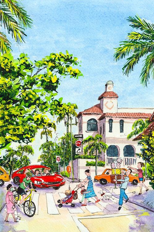 Downtown Boca Raton Streets Florida Art PRINT 5x 7 inches