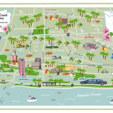Boca Raton Map Digital Illustration for Diamond Coach Limo Service in Boca Raton