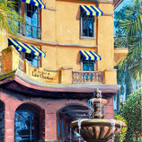 The Corner Fountain Original Oil Paintin
