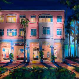 "Mizner Park at Night, Acrylic, 11"" x 14"" inches"