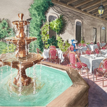 A Beautiful Cafe in Boca Raton Watercolor Artwork