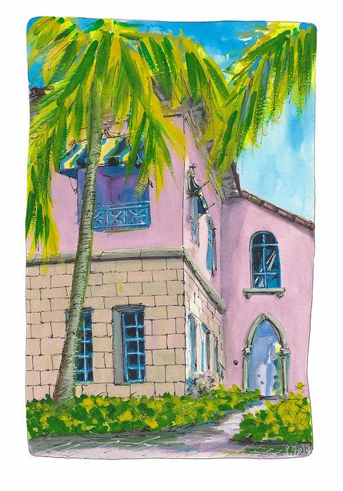 Boca Raton Buildings Watercolor Painting PRINT 5x7 inches
