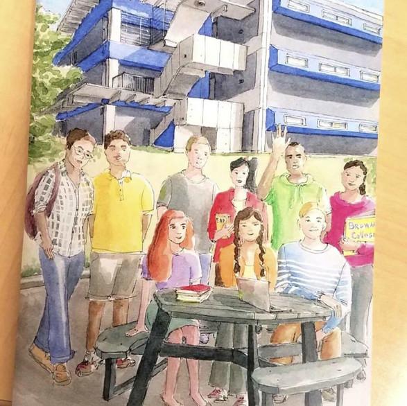 EAP Students College Life Magazine Illustartion