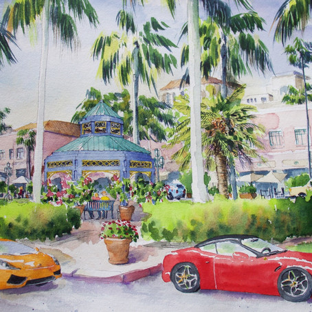 In love with this city! #bocaraton #watercolorillustration #floridaartist