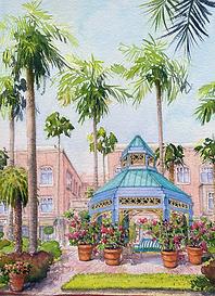 Mizner Park Gazebo Watercolor Painting_e