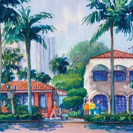 Downtown Boca Raton Streets East Palmetto, watercolor on paper