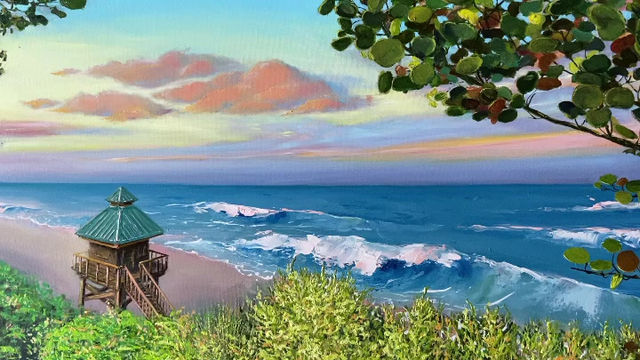 Red Reef Park - Boca Raton Oil Painting