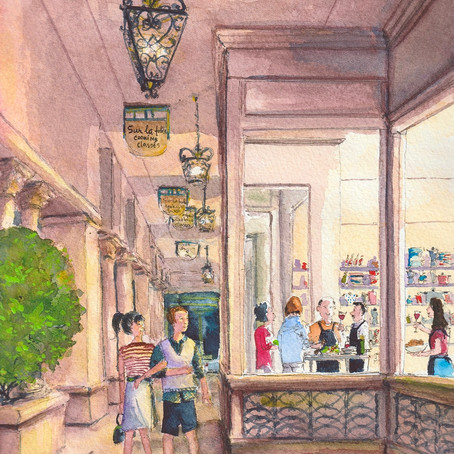 Cooking Together in Mizner Park Watercolor Painting