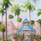Mizner Park Gazebo Watercolor Painting