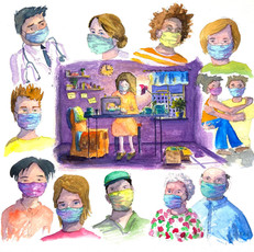 Watercolor Illustration for Sharon Koskoff Art Exibition: Alone Together