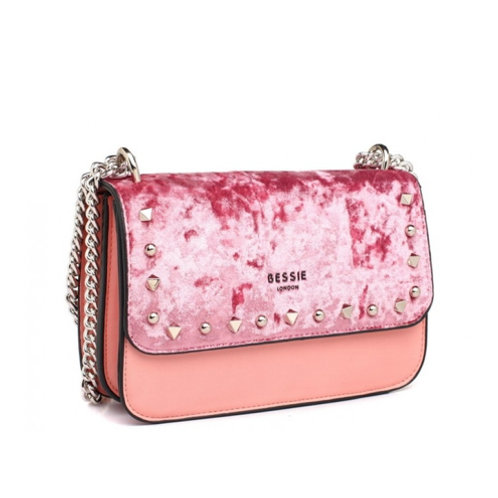 Pink Velvet Studded Cross Body Bag