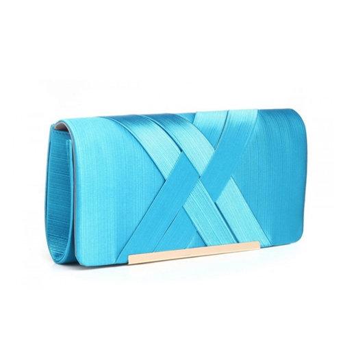 Blue Cross Pleat Clutch Bag