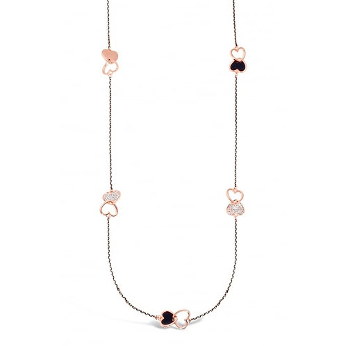 Rose Gold Necklace With Black Czech Crystals