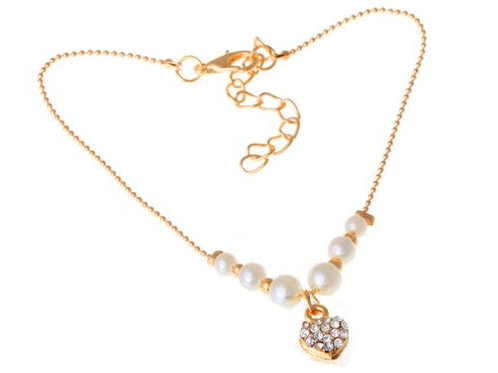 Gold Plated Heart Charm Anklet