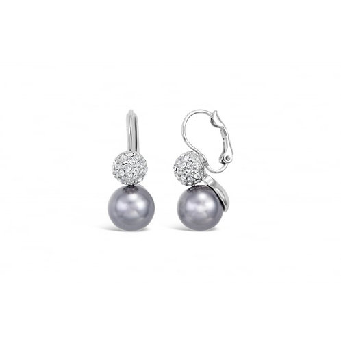 Beautiful Rhodium Glass Pearl & Crystal Earrings