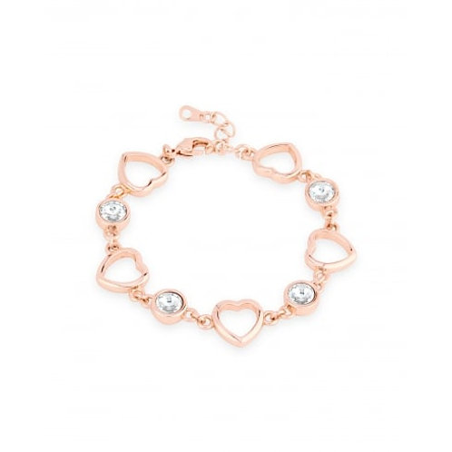 Rose Gold Heart Link Bracelet