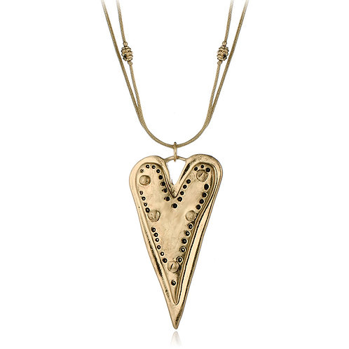 Long Heart Pendant Necklace