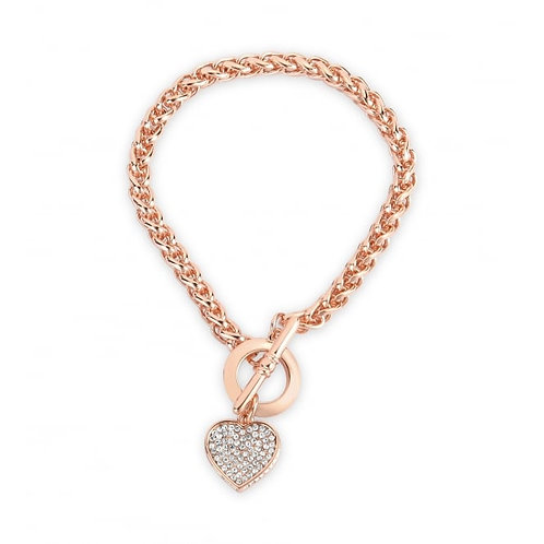 Rose Gold Plated Heart Crystal Bracelet