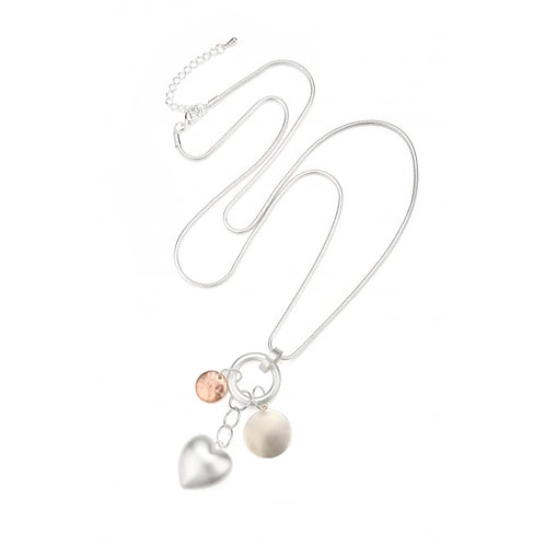 Beautiful Three Tone Long Necklace With Hearts