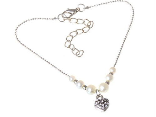 Silver Plated Heart Charm Anklet