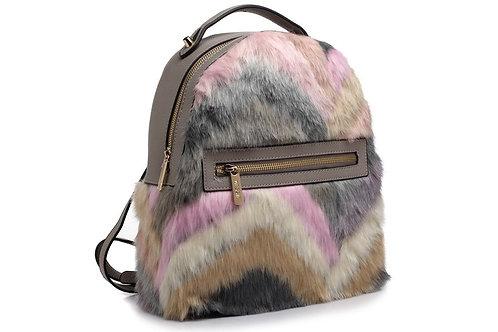 Grey Faux Fur Backpack