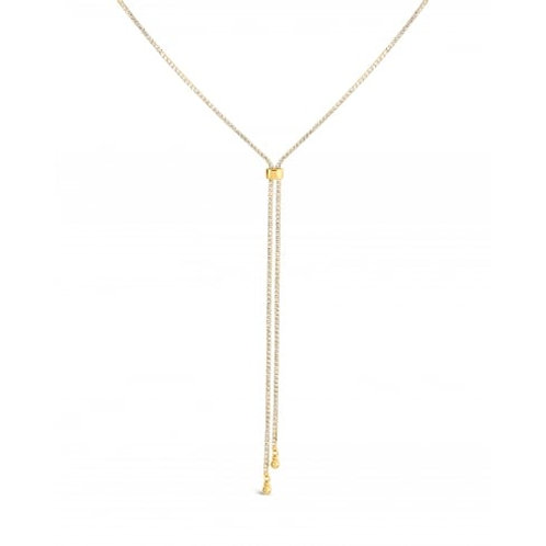 Gold Lariat Slide Chain Necklace