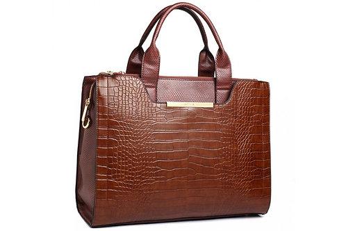 Brown Reptile Textured Handbag
