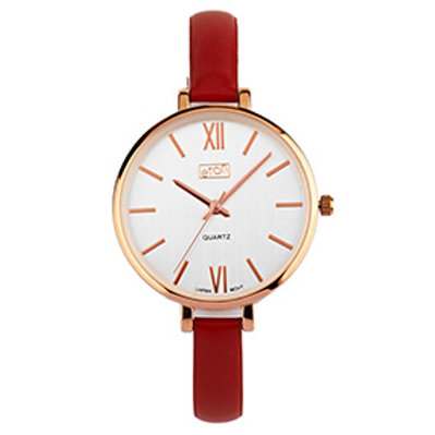 Red Slim Strap Wrist Watch