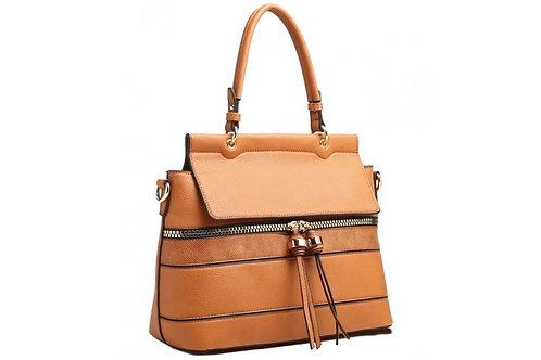 Tan Tassel Zip Shoulder Bag