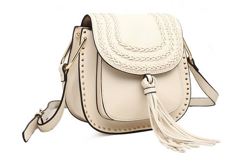 Beige Cross Body Saddle Bag