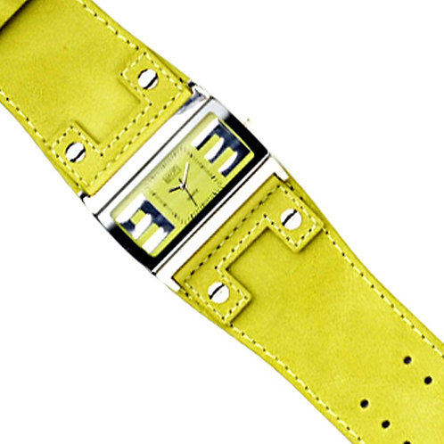 Lime Green Broad Cuff Leather Strap Watch