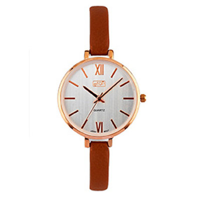 Tan Slim Strap Wrist Watch