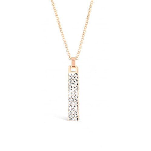 Rose Gold Necklace With Crystal Stone Pendant