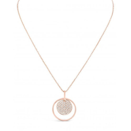 Rose Gold Plated Disc Necklace With Czech Crystals