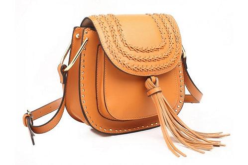 Tan Cross Body Saddle Bag