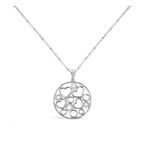 Beautiful Rhodium plated Heart & Crystal Necklace
