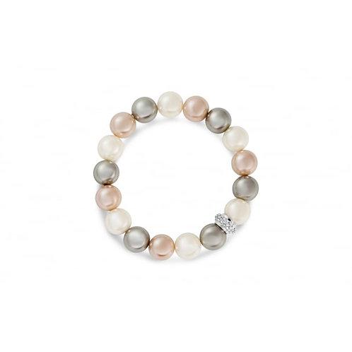 Rhodium Pearl Bracelet With Crystal Stones